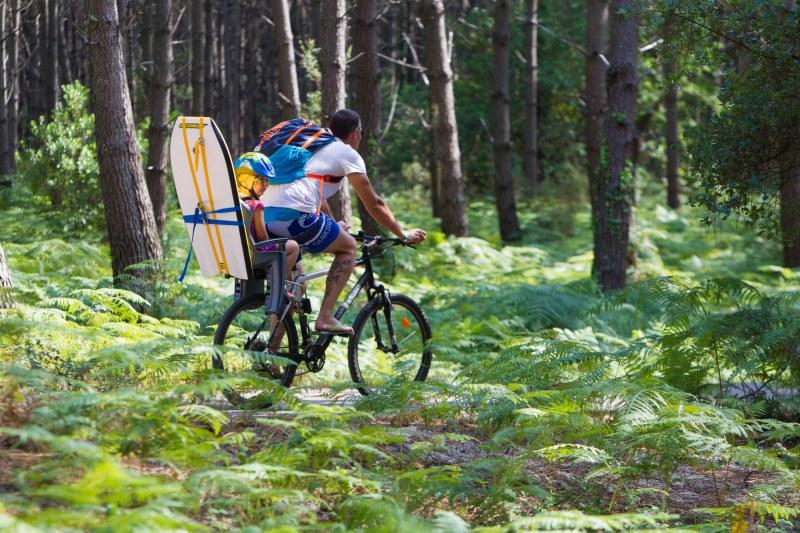 Promenade à vélo en forêt dans le département des Landes en région Nouvelle Aquitaine Camping Qualité